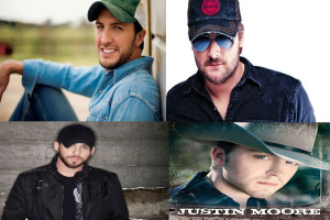 Top Left: Luke Bryan Top Right: Eric Church Bottom Left: Brantley Gilbert Bottom Right: Justin Moore