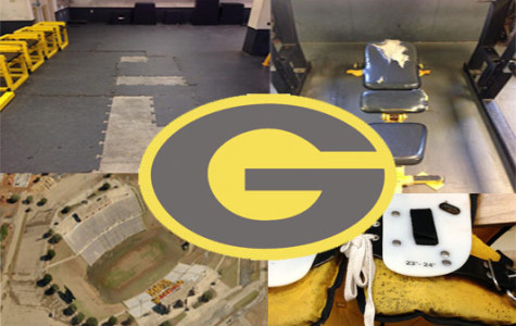 Grambling states logo with pictures of its facilities and equipment surrounding it