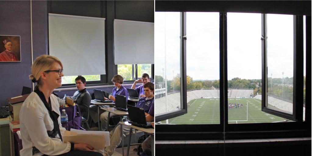 New faculty member Ms. Julie Kurhals teaches a religion class, with a shot of the view from her new classroom.
