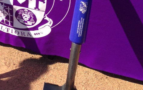 One of the shovels used to break the starting foundation of the field was made from a Louisville Slugger bat.