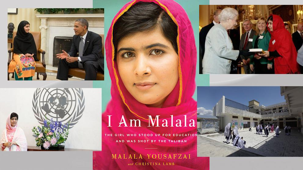 Clockwise: Malala & President Obama, Malala's book, Malala & Queen Elizabeth II, Malala's school in Pakistan, Malala at the UN.