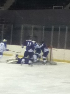 A fight broke out between Panthers and Bombers in the 3rd period.