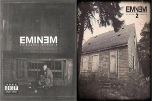 Eminem's albums The Marshal Mathers LP (left) and The Marshall Mathers LP 2 (right)