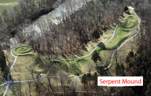 The Serpent Mound is located in Peebles, Adams County, Ohio. Built by Fort Ancient Indians, it is the largest mound effigy in the world.