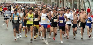 The massive horde of runners fights through the 10k Thanksgiving Day Race