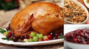 Turkey, stuffing, and cranberry sauce are some of the most prominent Thanksgiving foods