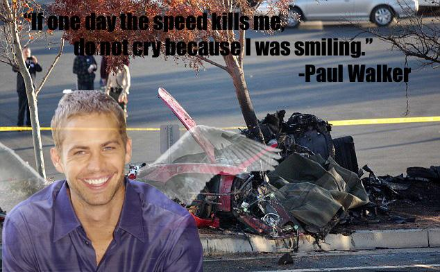 The remains of Paul Walker's vehicle after the crash and a tribute to him.
