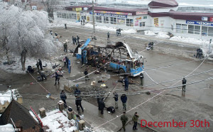 A bomb on a trolley killed 14 people, less than 24 hours after a bomb killed 17 at a train station.