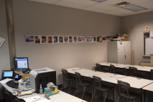 """Mr. Rogers room S-134 still has the old fluorescent lights that give a hazy and 'greyed"""" light to the room."""