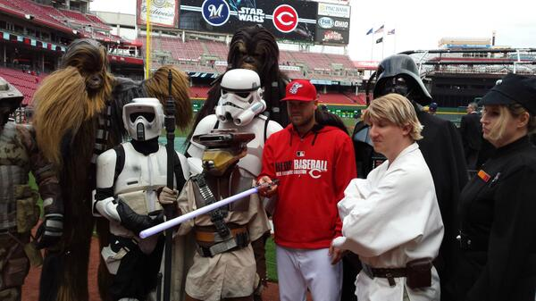 Trevor Bell is flanked by multiple Star Wars characters.