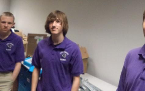 Anime club members: (l to r)  Juniors Alex Carcutt,  Kyle Gilday, and senior Doyle Higgins