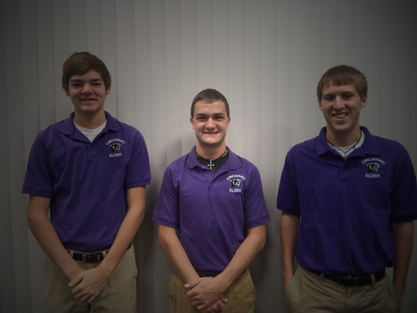 From left to right: junior varsity star Kyle Kehling, and varsity captains Eric Huff and Michael Huschart