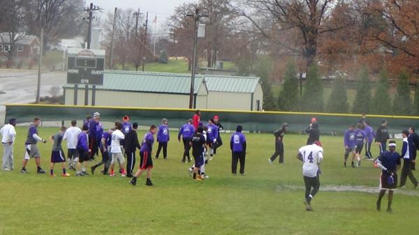 The 2014 edition of the Turkey Bowl between the Glee Club and the Band took place at a cold, slippery and rainy Delhi prak