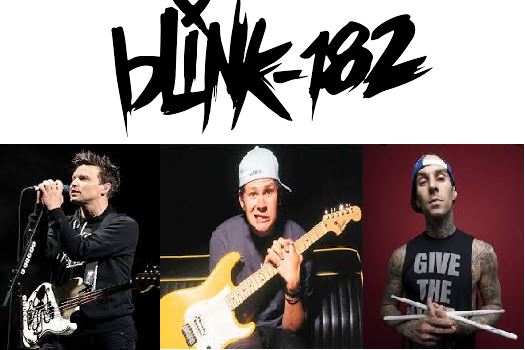 The members of Blink-182 (from left to right): Mark Hoppus (lead vocals and bass), Tom DeLonge (guitar), and Travis Barker (drums)