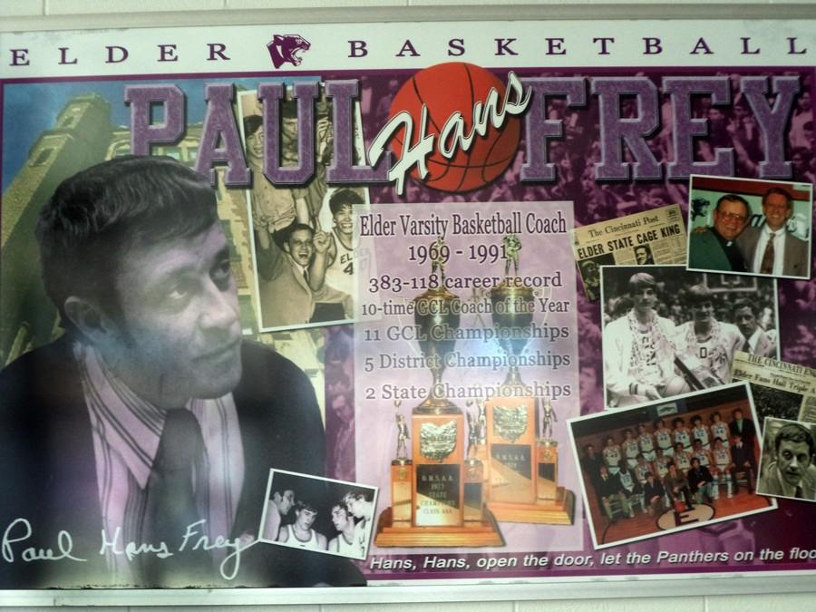 Poster+from+the+field+house+features+legendary+coach+Paul+%22Hans%22+Frey.