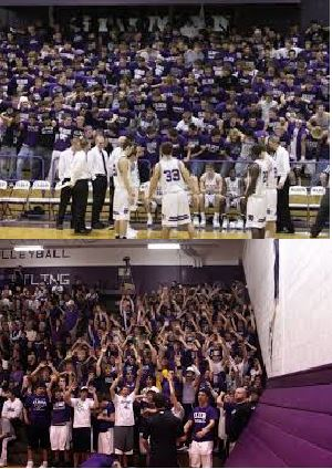 Whether in the fieldhouse (top) or the wrestling/volleyball gym (bottom) the Elder cheering section always makes the visiting team wish they'd stayed home