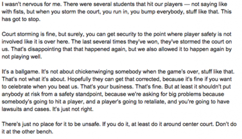 Bill Self and his comments after his teams 70-63 loss