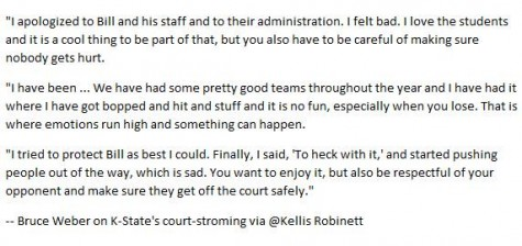 Statement made by K. State coach Bruce Weber following his teams 70-63 win of Kansas
