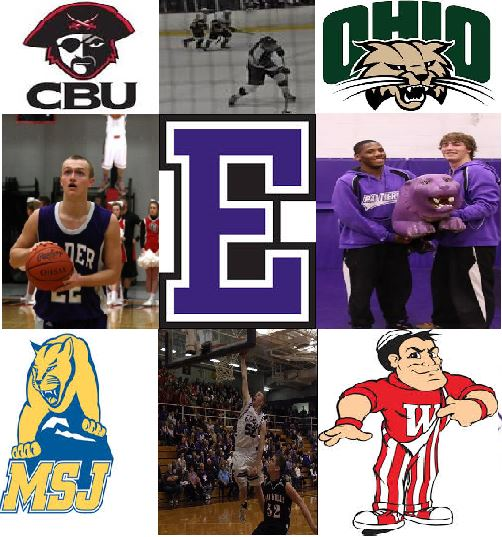 Elder basketball players Brad Miller (left) and Mitch Moorhead (bottom), hockey player Sam Coffaro (top), and wrestlers Mark Adams and Gage Brock (right) will all represent the Panthers at the collegiate level next year
