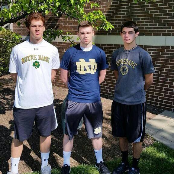 (left to right) Harry Laiveling, Michael O'Brien, and Max Hammersmith all pledge their allegiance to the Fighting Irish as part of their class of 2019