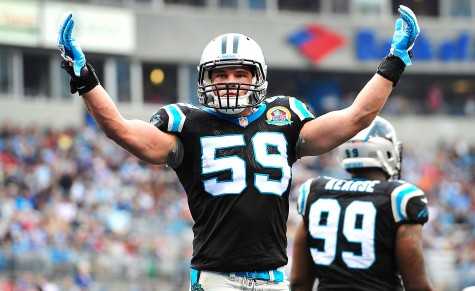 Luke Kuechly getting the home crowd hyped up.