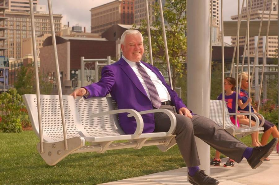 Mr. Tom Otten relaxes at Smale Riverfront Park
