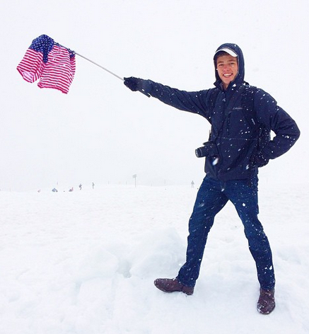 Paxton Kelley honors America by flying his Chubbies atop Mt. Titlis during the Glee Club's trip over the summer