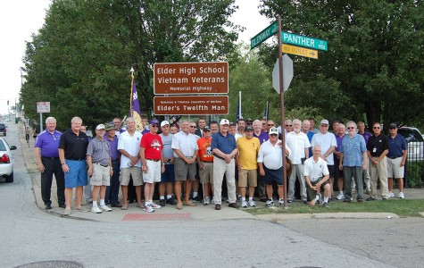 War Veterans at the Changing of the Sign ceremony  on Glenway Avenue