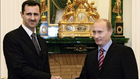 Vladimir Putin and Bashar al-Assad at a meeting