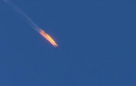 Russian warplane after being shot down by Turkish defense