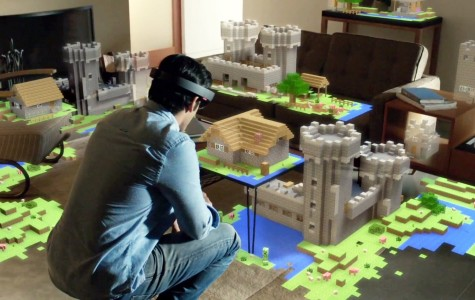 HocoLens allows this man to see a virtual world.