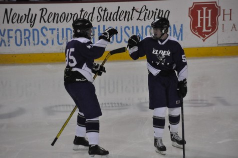 Jake Hofmeyer and Cameron Olding celebrating after an early lead goal against Alter.