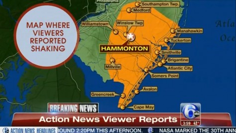 Map of where the sonic booms have been reported in Southern New Jersey.