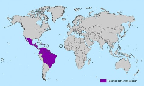 A map of the countries were cases of the Zika virus have been found
