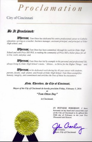 """The official proclamation of """"Tom Otten Day"""" in Cincinnati"""