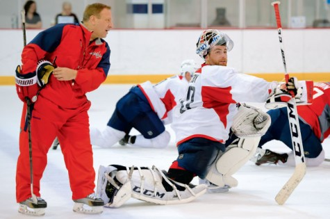 Washington Capitals goaltender coach Mitch Korn working with Braden Holtby, Korn's third Vezina trophy nominee.