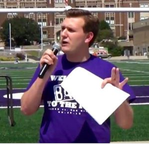Jake now rocks a fresh new look while presenting a pep-rally