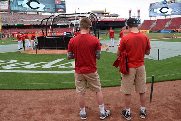 Jacob Geiser '16 and Cole Carle '17 at batting practice for the May 2 game at GABP featuring the Reds versus the San Francisco Giants