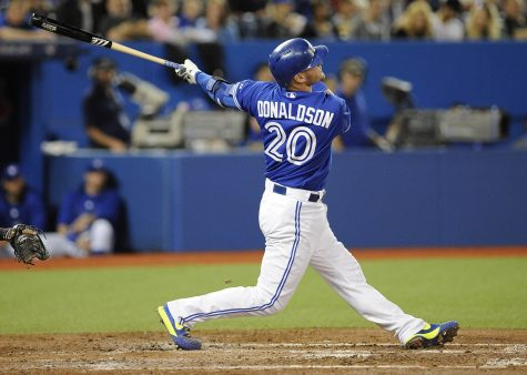 Josh Donaldson swings away at his second chance for world championship with the Blue Jays. http://www.gammonsdaily.com/wp-content/uploads/2015/07/Josh-Donaldson-Jays.jpg