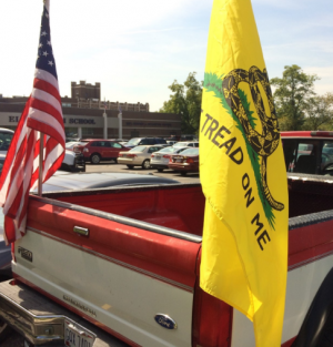 Knolle's flags in the parking lot