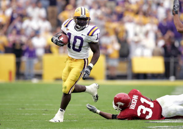 BATON ROUGE, LA - NOVEMBER 25:  Joseph Addai #10 of the Louisiana State University Tigers carries the ball during the game with the University of Arkansas Razorbacks on November 25, 2005 at Tiger Stadium in Baton Rouge, Louisiana.  The Tigers won 19-17.  (Photo by Chris Graythen/Getty Images)