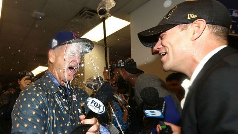 Bill Murray and Theo celebrate after Game 7