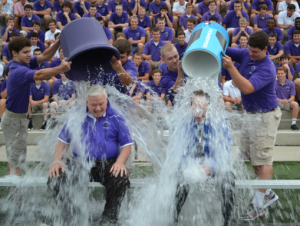 Former Principle Tom Otten participates in the ALS Ice Bucket Challenge