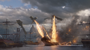 Daenerys' dragons showing their fire power from the end of Season 5