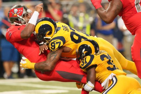 photo from tbo.com Bucs QB Jameis Winston gets hit by Rams DE Eugene Sims and DB Maurice Alexander in a 2015 Thursday night game