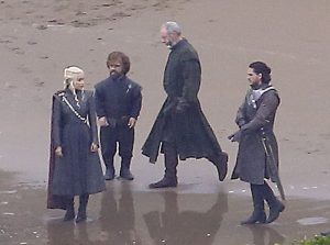 Daenerys, Tyrion, Jon Snow, and Lord Davos Seaworth on set