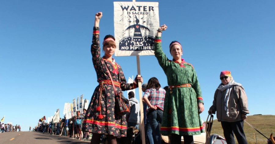 Two women protesting the pipeline