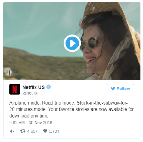 A picture of the tweet that announced that Netflix will become available offline (Credit to popcultureuncovered.com)