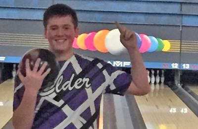 photo from Elder Bowling Twitter Account Conner Brocker celebrates shortly after joining the 300 club