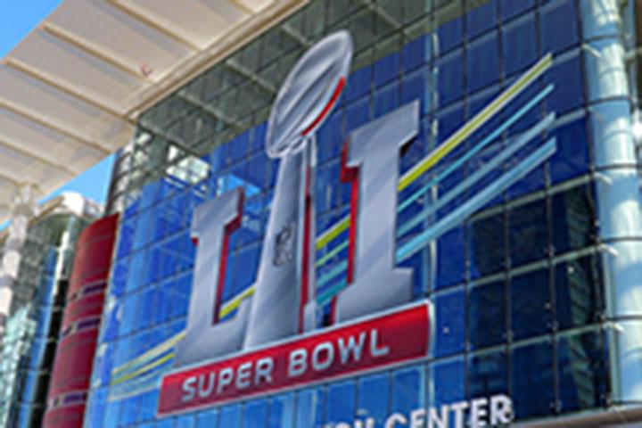 HOUSTON, TX - JANUARY 29:  Super Bowl LI Logo outside the NFL Experience at the George R. Brown Convention Center on January 29, 2017, in Houston, Texas.  (Photo by Rich Graessle/Icon Sportswire via Getty Images)